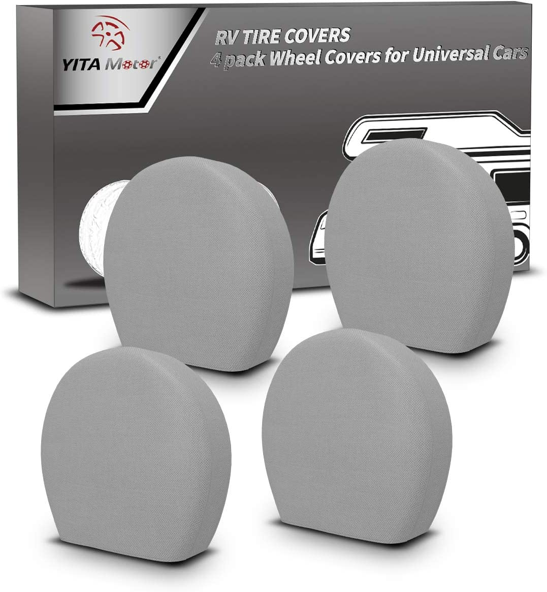 YITAMOTOR Set of 4 Waterproof Tire Cover Waterproof UV Coating Tire Protectors Fits 24-27 Tire Diameters Universal Tire Cover Extra Thick 5-ply Motorhome Wheel Covers