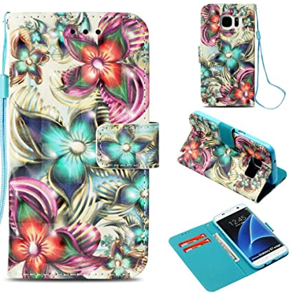 Galaxy S7 Edge Case,Anti-Scratch Full Cover Pu Leather Wallet Case Dust Proof Lightweight with Inner Bumper Credit Card Holder with Wrist Strap ...