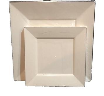Good Living Square China Like dinnerware 20pc Premium Heavyweight Plastic Plates. Ivory with Silver  sc 1 st  Amazon.com & Amazon.com: Good Living Square China Like dinnerware 20pc Premium ...