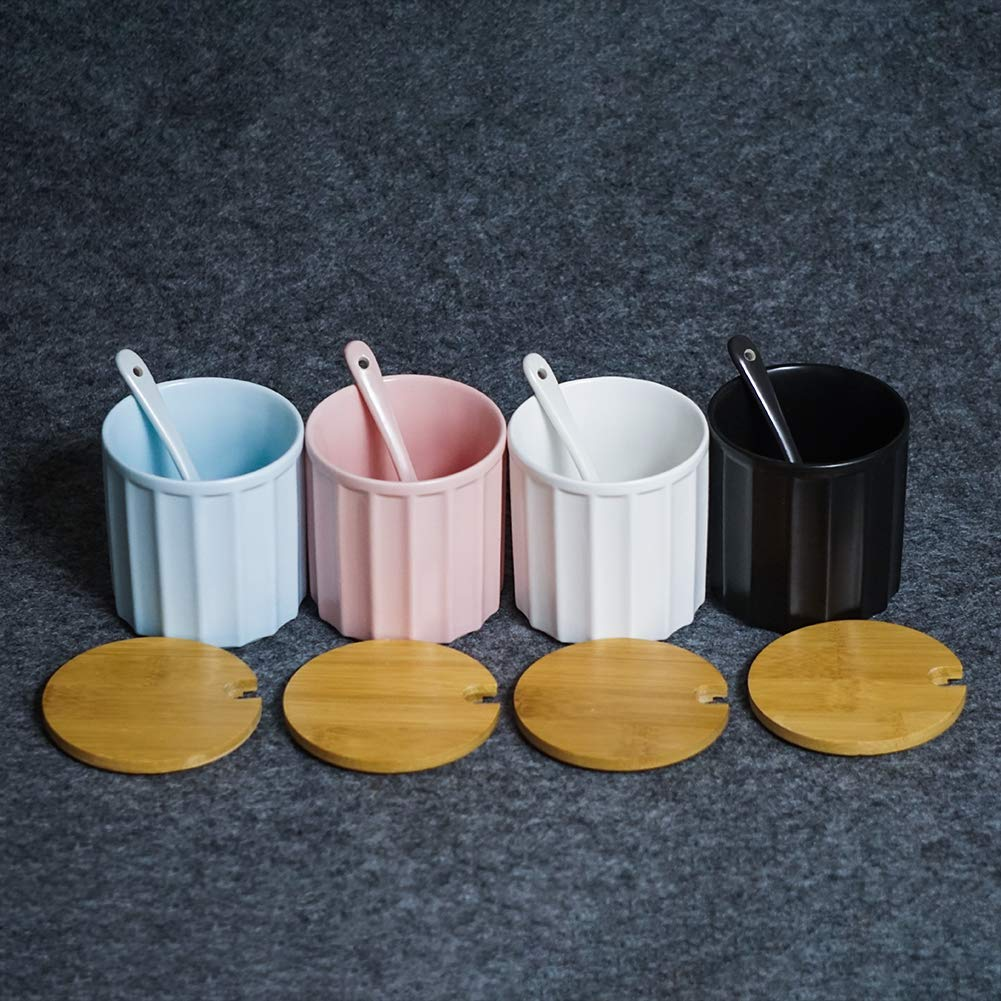 Sucrier en c/éramique avec cuill/ère /à sucre et couvercle en bambou pour la maison et la cuisine Design /él/égant Blanc 270 ml rose