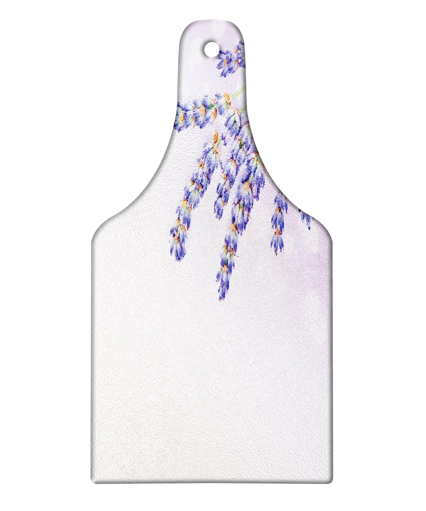 Ambesonne Lavender Cutting Board, Little Posy of Medicinal Herb Fresh Plant of Purple Flower Spa Aromatheraphy Organic, Decorative Tempered Glass Cutting and Serving Board, Wine Bottle Shape, Lavander