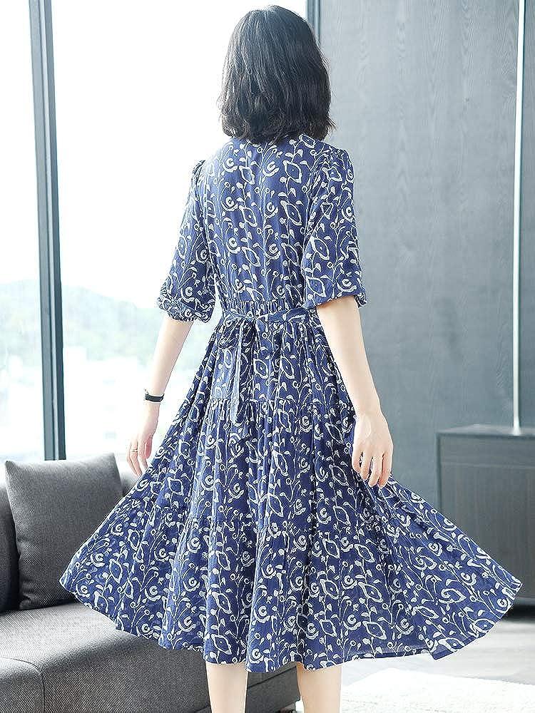 BINGQZ Damen Elegant Kleid Blaues bedrucktes Baumwollkleid Frühling und Sommer Langer Rock der Taille, der Langen Blumenrock abnimmt L