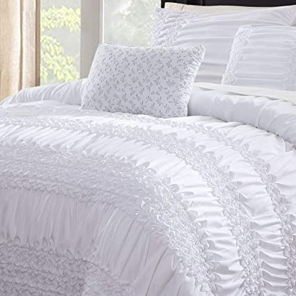 Amazon.com: 5 Piece White Gypsy Ruffled Comforter Queen Set, Off