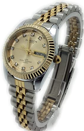 Reloj de Mujer Swanson Japan Watch Womens Two-Tone Day-Date Gold Dial With