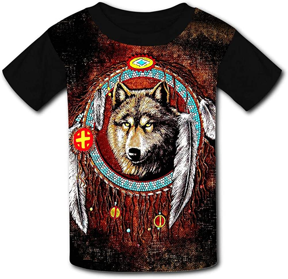 Kids Wolf Dreamcatchers O-Neck T Shirts for Fashion Children Boys Girls Tee Shirt