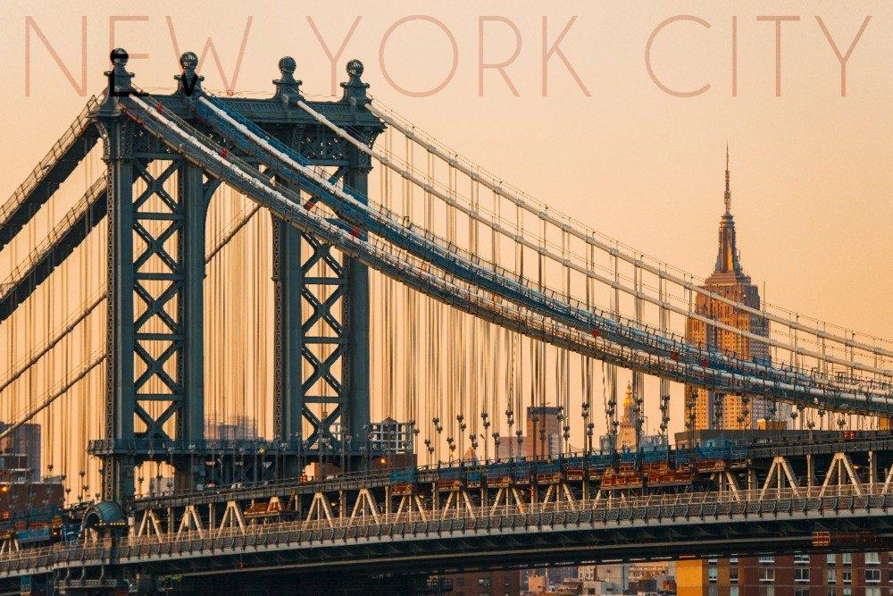 ニューヨーク市、ニューヨーク – オレンジ空とブリッジ 24 x 36 Giclee Print LANT-55996-24x36 B014ZQZS38 24 x 36 Giclee Print