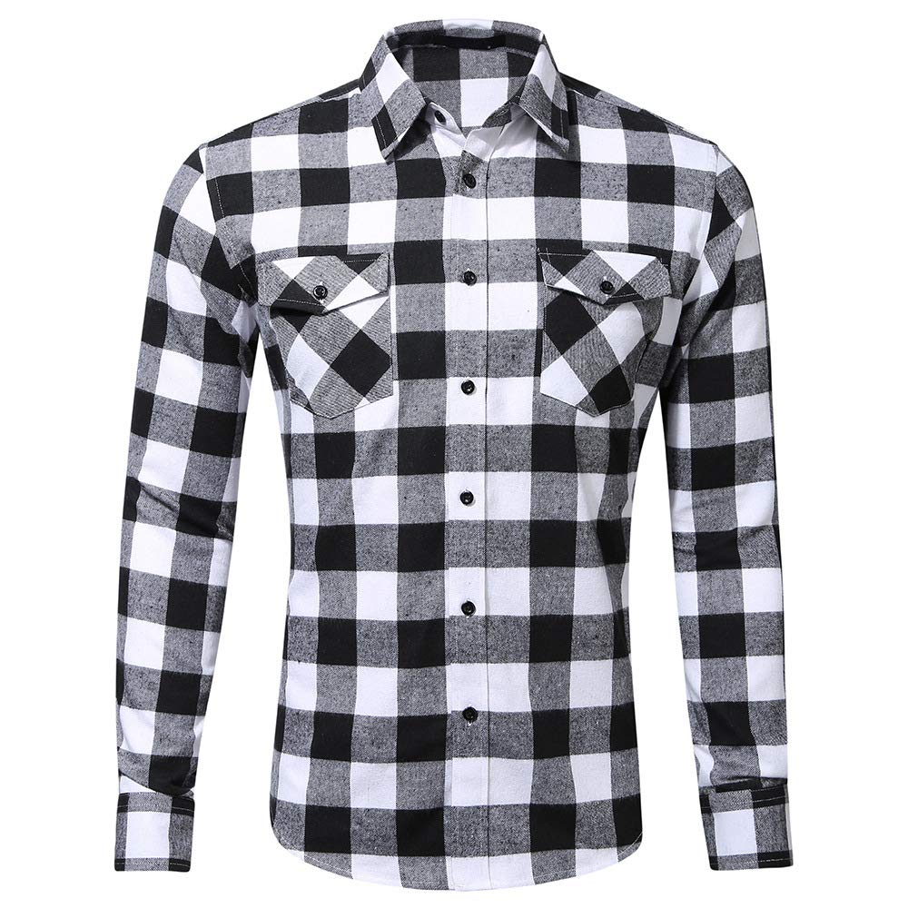 CATERTO Men's Dress Long Sleeve Flannel Shirt Thermal Plaid Checkered Jacket CASS-GD022