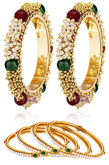 0a543a9c1d02e YouBella Pearl   Gold Combo Bangle Set For Women - Pack Of 6 (2.4)  Amazon. in  Jewellery