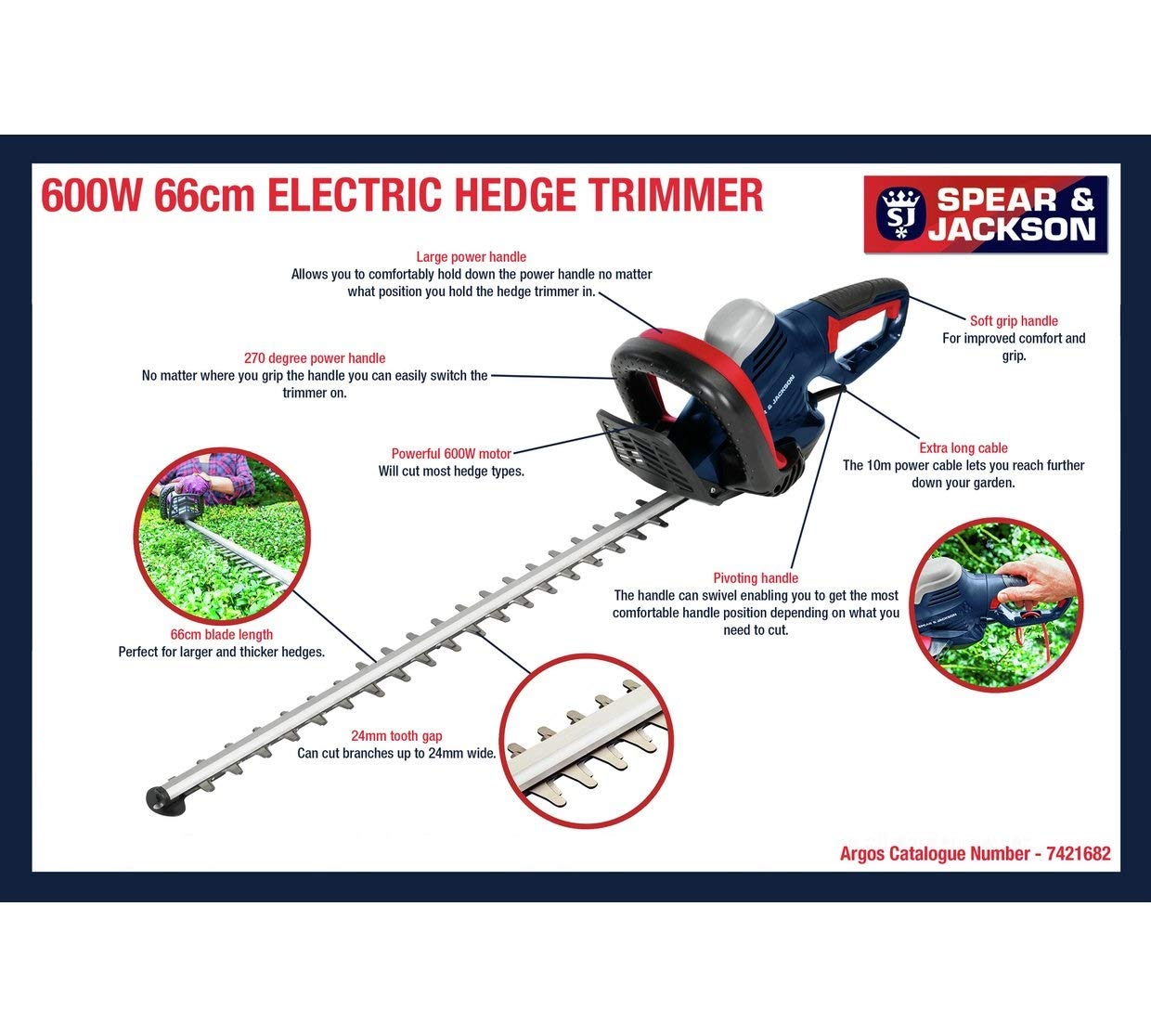 Spear & Jackson - 66cm Corded Hedge Trimmer - 600W: Amazon