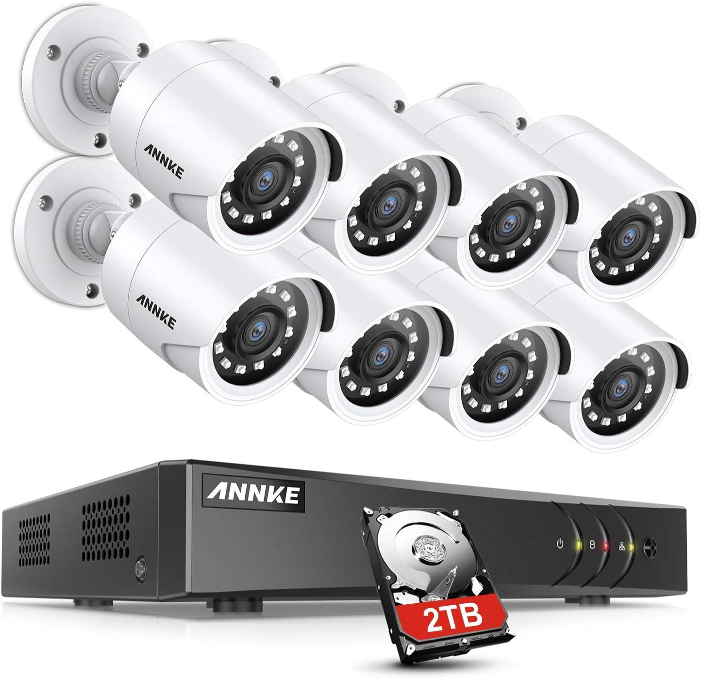ANNKE Sistema de Seguridad 8 1080P Cámaras de Vigilancia CCTV 2MP, Onvif H.265+ DVR P2P 8CH TVI IP66 Impermeable 36 IR Leds -2TB Disco Duro
