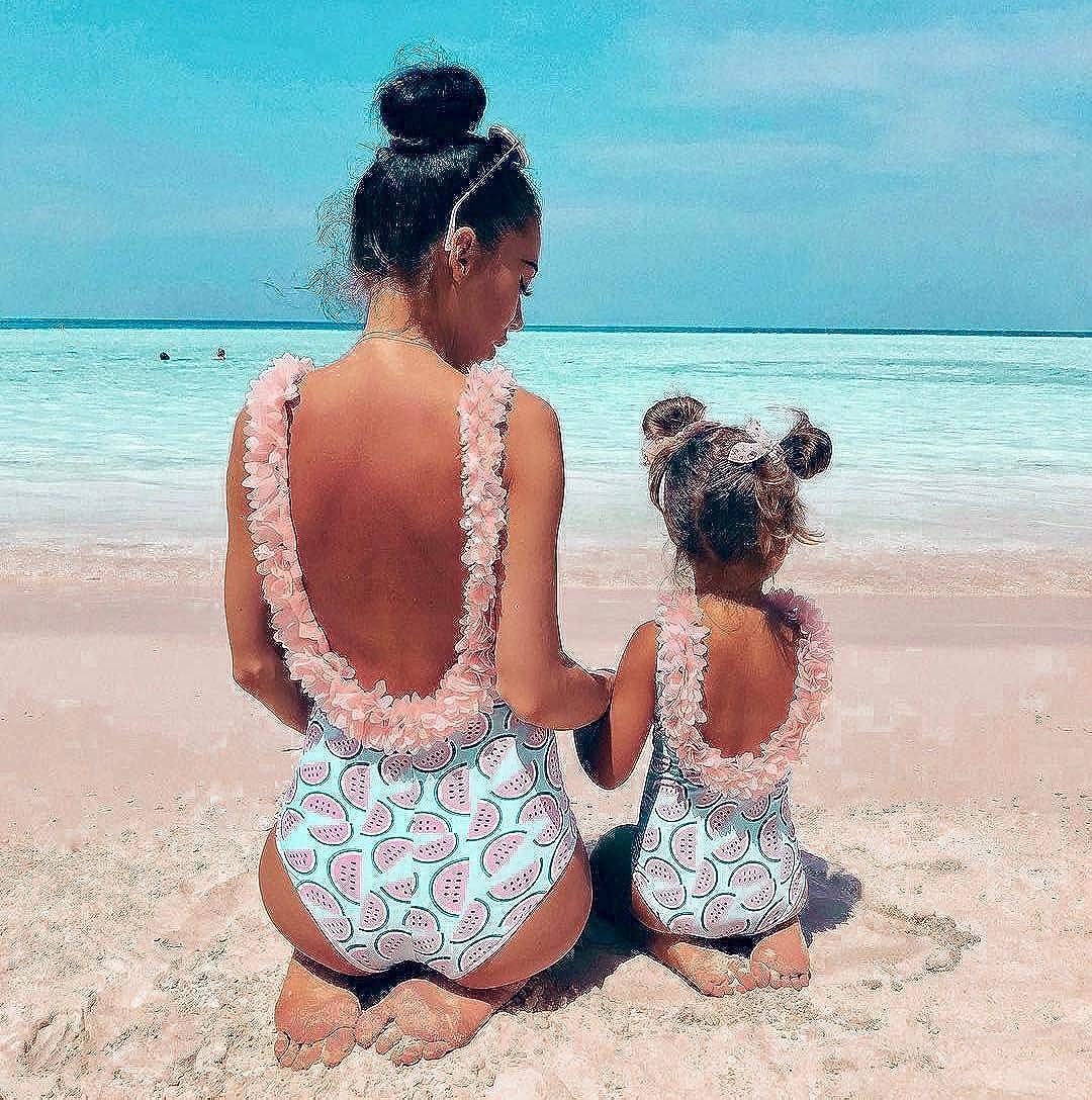 Infant Baby Girl Watermelon Swimsuit Floral Neck Bikini Suit One Piece Beachwear
