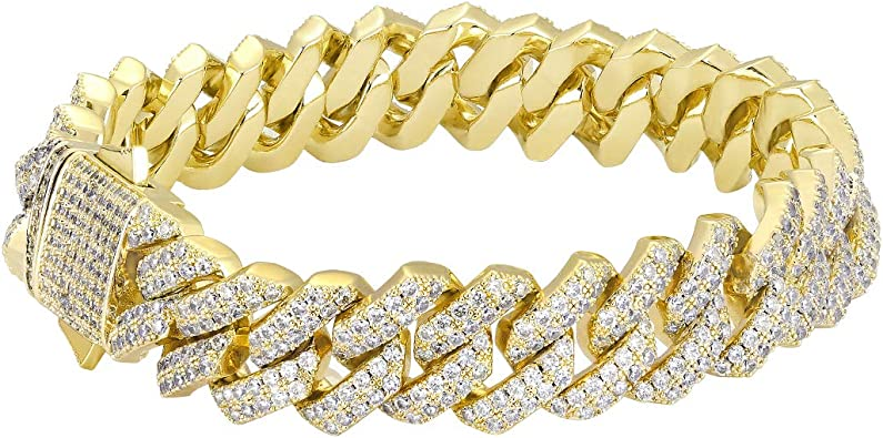 KRKC/&CO Bracciale Cubano da Uomo Bracciale a Catena Cubana 14k Oro//Oro Bianco Placcato con Zirconi Cuban Link Bracelet Iced Out in Sitle Hip Hop Casual 18-23cm