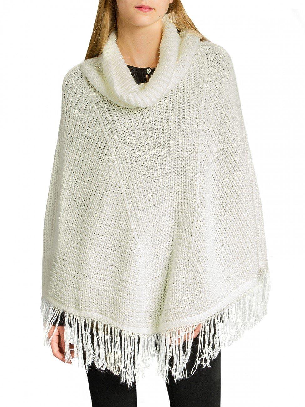 CASPAR PON025 Damen Woll Poncho Farbe:beige; Grö ß e:One Size 4251085255212