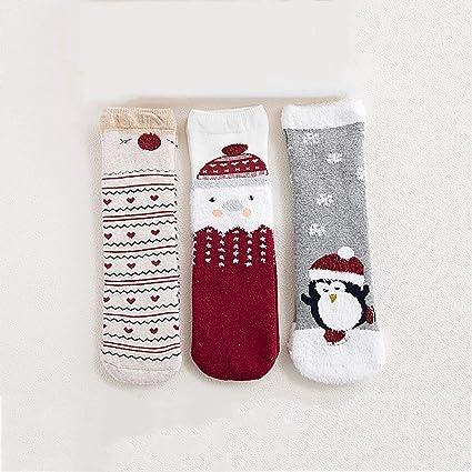 LFY Calcetines de Navidad para niños Parte Inferior Antideslizante Engrosada, Calcetines de Toalla de algodón