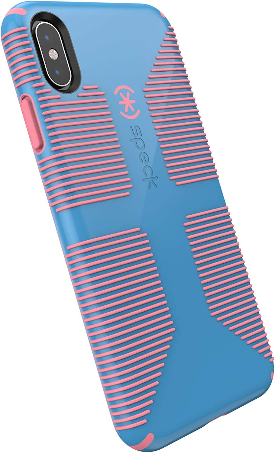 Speck Products iPhone Xs Max Case, CandyShell Grip, Azure Blue/Melon Pink
