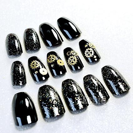 echiq Metal Gearwheel bailarina ataúd uñas postizas acrílico largo uñas negro con purpurina mecánico Estilo Cuadrado