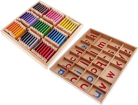 MagiDeal Montessori Caja de Alfabetos Móviles + Caja de Colores Juguetes Educativos de Madera para Niño: Amazon.es: Juguetes y juegos