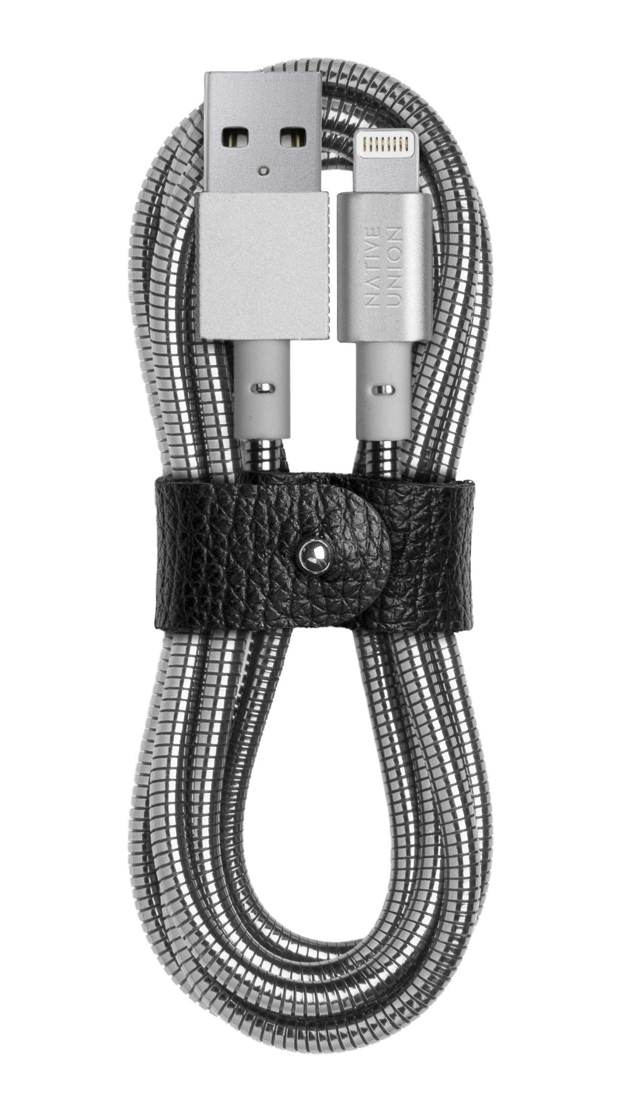 Native Union Coil Cable - 4ft Ultra-Strong Stainless Steel Reinforced [Apple MFi Certified] Lightning to USB Charging Cable with Leather Strap for iPhone/iPad (Silver)