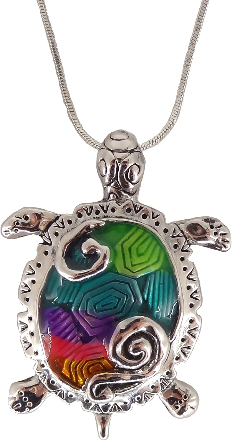 DianaL Boutique Silver Tone Large Green Blue Red Sea Turtle Pendant Necklace on 18 Chain
