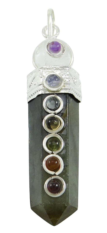 Harmonize Pencil Wand 7 Chakra Balancing Therapy Labradorite Pendant Balancing Reiki Healing Crystals CDJ265A-1