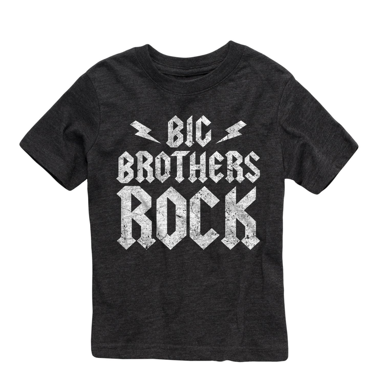 Short Sleeve Big Brothers Rock Printed Boys Gray Toddler T-Shirt