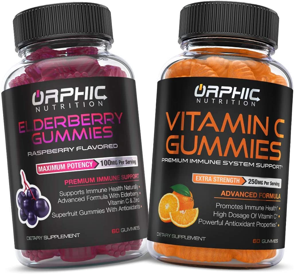 Elderberry & Vitamin C Gummies - Daily Immune System Support - Premium Antioxidant Formula for Men, Women and Kids - Best Source of Vitamin C