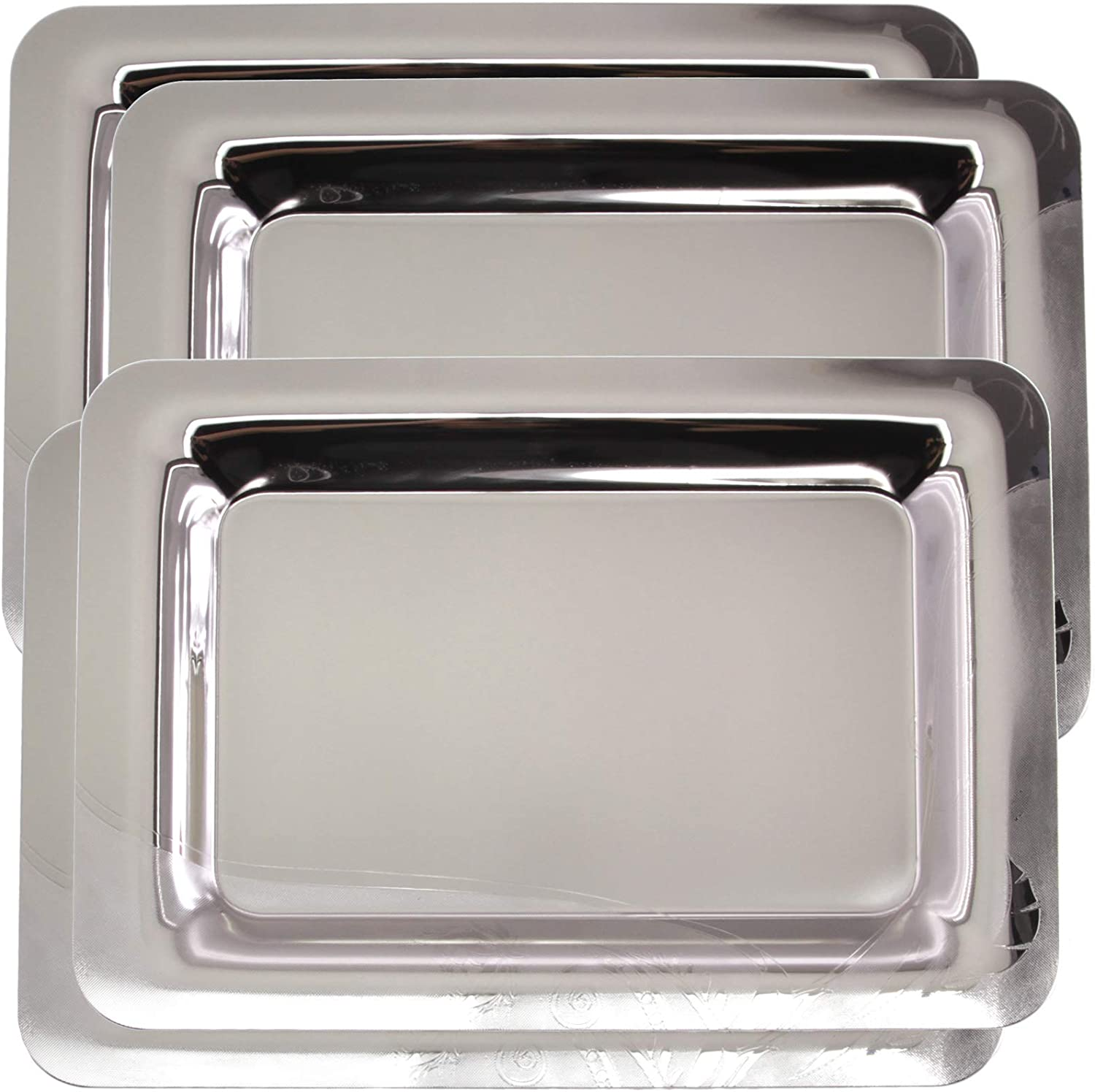 Maro Megastore (Pack of 4) 18.6 inch x 13 inch Oblong Chrome Plated Mirror Silver Serving Tray Stylish Design Floral Engraved Edge Decorative Party Birthday Wedding Buffet Wine Platter Plate TLA-339