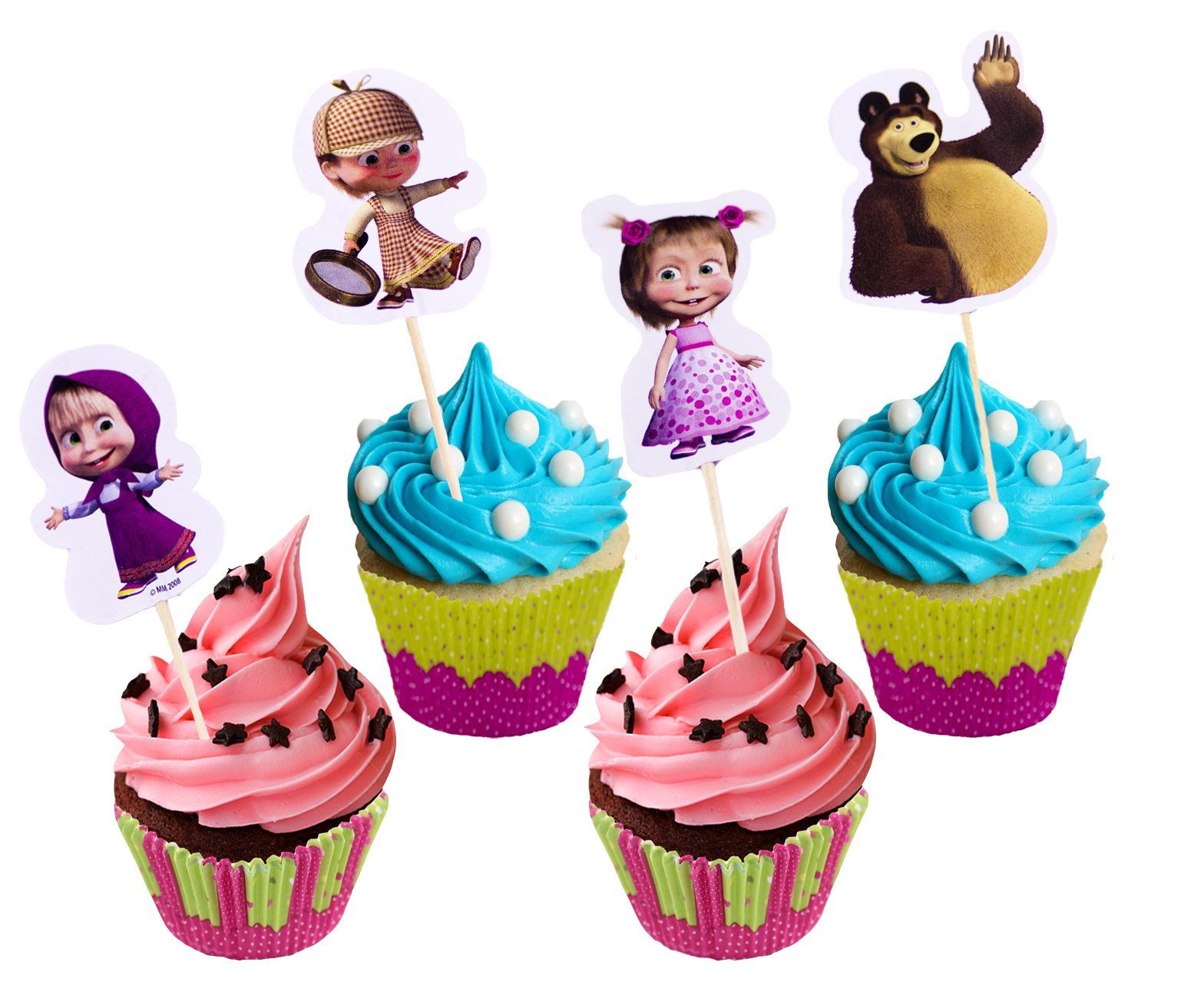 Set of Bright Printed Backing Cups 24 pcs and 24 Picks Topper Food Decoration Masha and the Bear for Cakes Cupcakes Muffins Must Have Accessories for the Party and Birthday Masha y el Oso para niños by Masha and the Bear (Image #2)