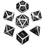 7 Pieces Metal Dices Set DND Game Polyhedral Solid Metal D&D Dice Set with Storage Bag and Zinc Alloy with Enamel for Role Playing Game Dungeons and Dragons Silver Edge with Black