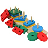 Shanaya Toys Wooden Geometric Shape Sorter Puzzle (Multicolor)  (16 Pieces)