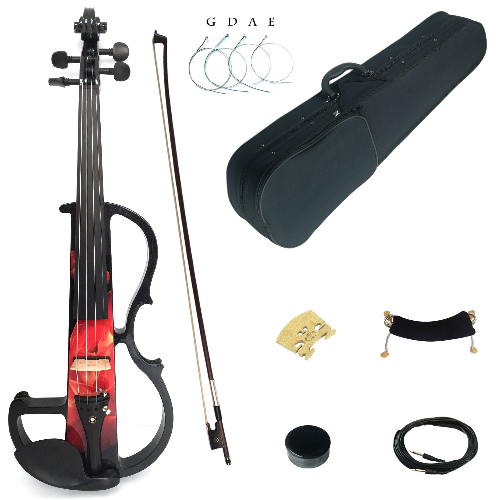 Kinglos 4/4 Red Fire Colored Solid Wood Intermediate-B Electric/Silent Violin Kit with Ebony Fittings Full Size (DSZB0017) by Kinglos