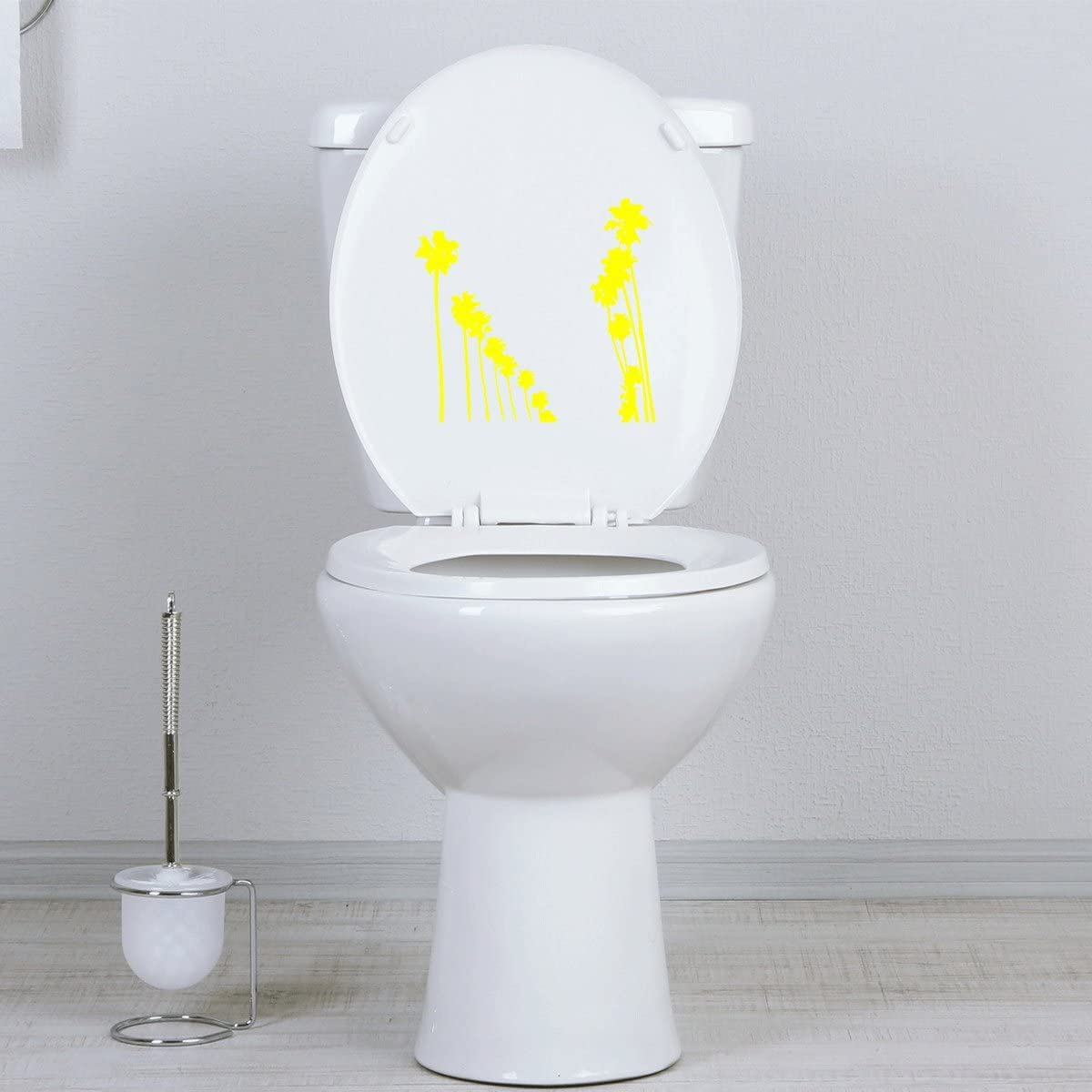Black Bath Seat StickAny Bathroom Decal Series Palm Tree Rows Sticker for Toilet Bowl