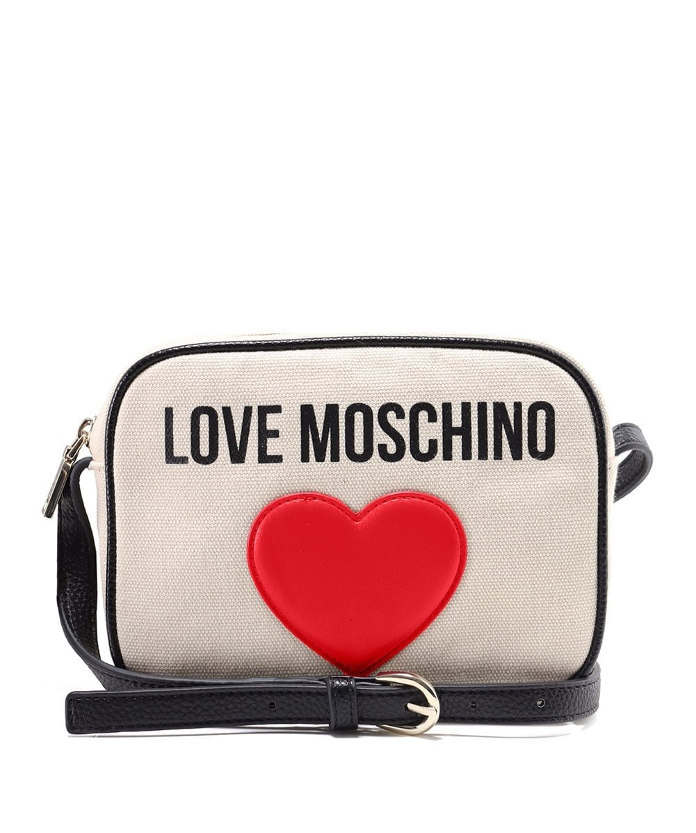 Love Moschino Women's Canvas Logo Clutch Bag White One Size
