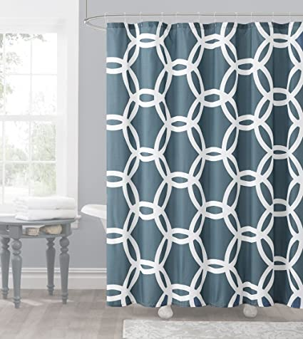 Amazon Slate Blue And White Embossed Fabric Shower Curtain