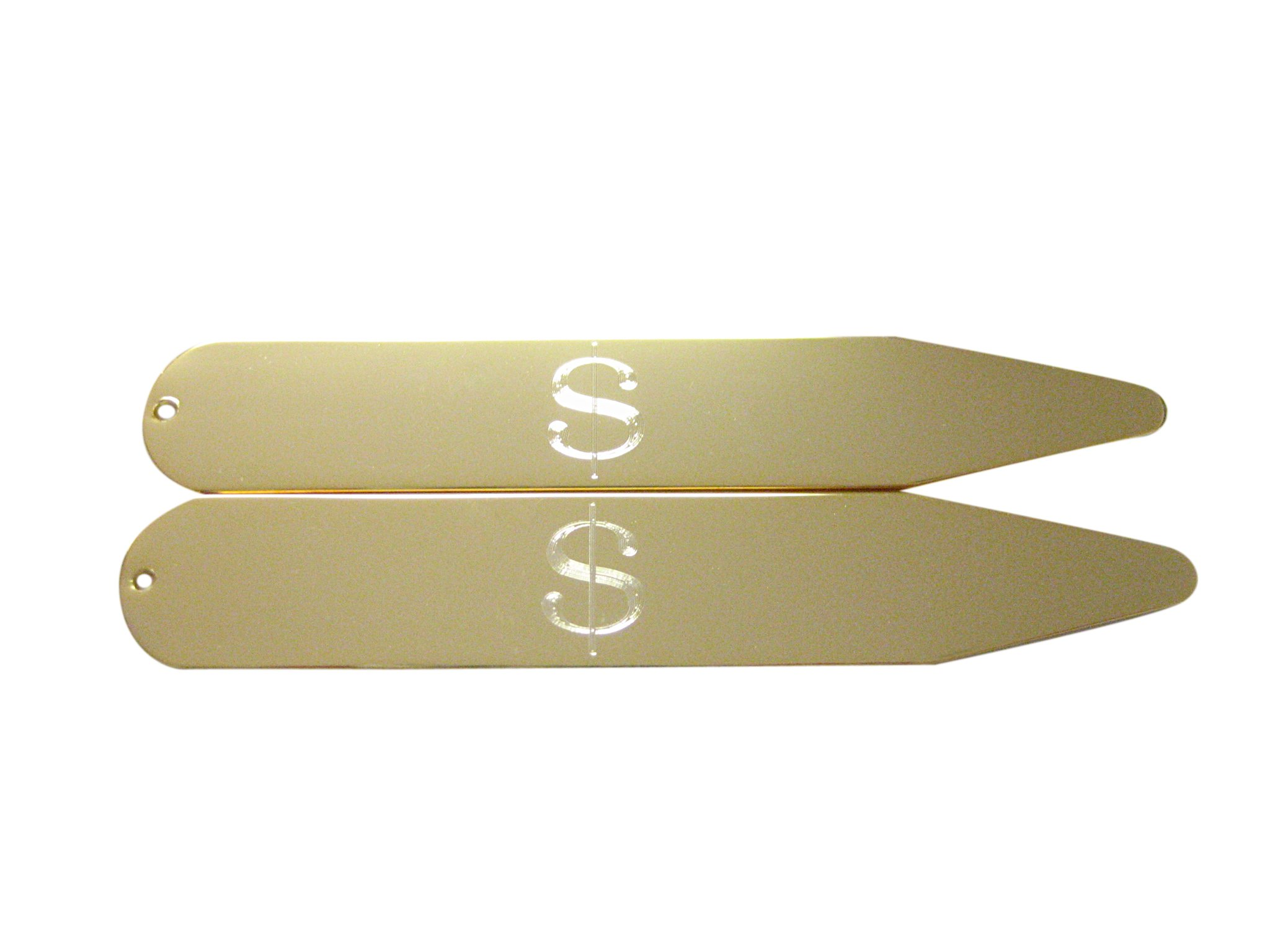 Gold Toned Etched U.S. Dollar Sign Collar Stays