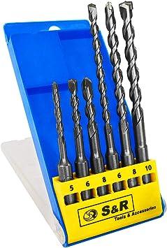 S&R Brocas SDS Plus Pared Hormigón, Juego Brocas SDS Plus 6 piezas ...