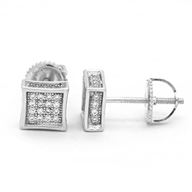 81f54793d Image Unavailable. Image not available for. Color: .925 Sterling Silver Stud  6mm 4 Row CZ Stone Cube Kite Earrings