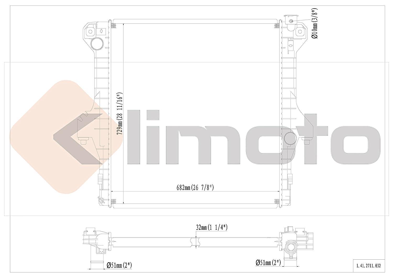 Klimoto Brand New Radiator fits Dodge Ram 2500 3500 2004 2005 2006 2007 2008 2009 Diesel 5.9L 6.7L L6 CH3010304 52028900AD 55056816AA CU2711 RAD2711 DPI2711