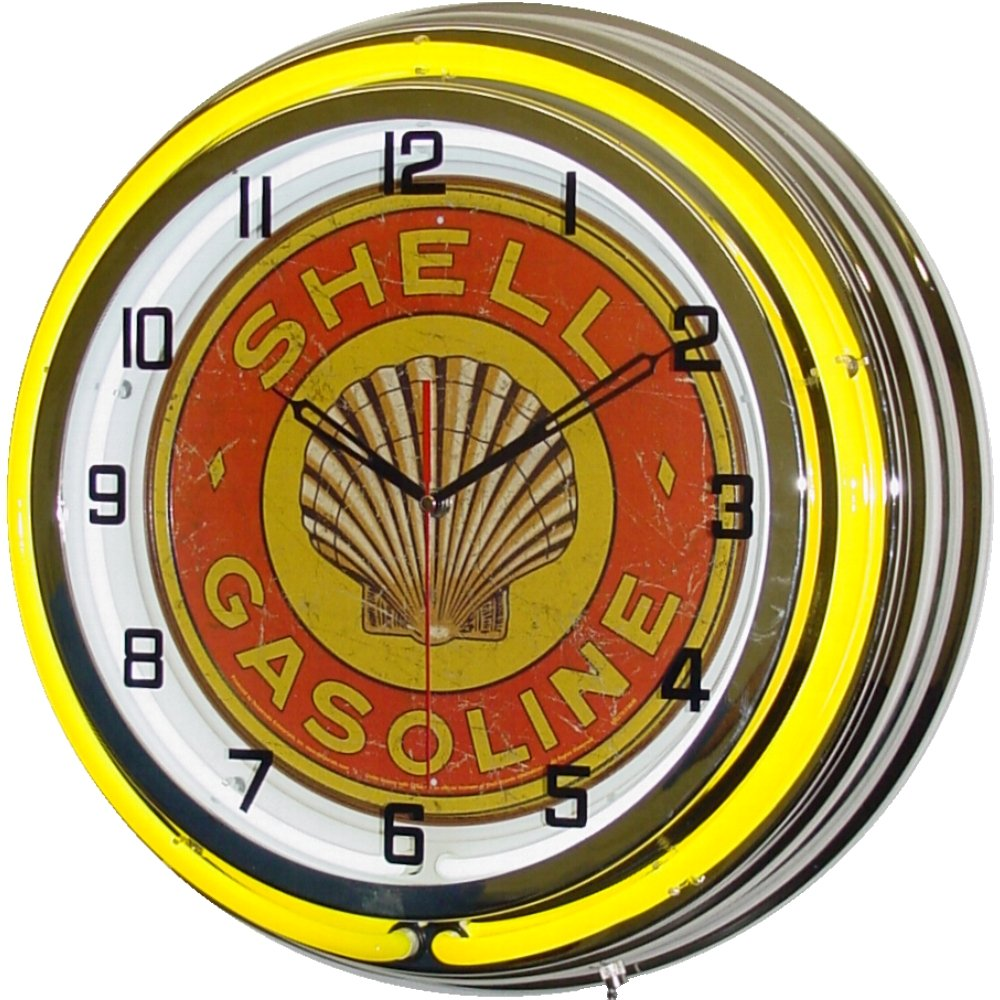 18'' Shell Gasoline 1920's Sign Double Neon Lighted Wall Clock Chrome Yellow