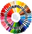 Caydo Embroidery Floss 50 Skeins Rainbow Color Embroidery Thread Cross Stitch Floss with 12 Pieces Floss Bobbins