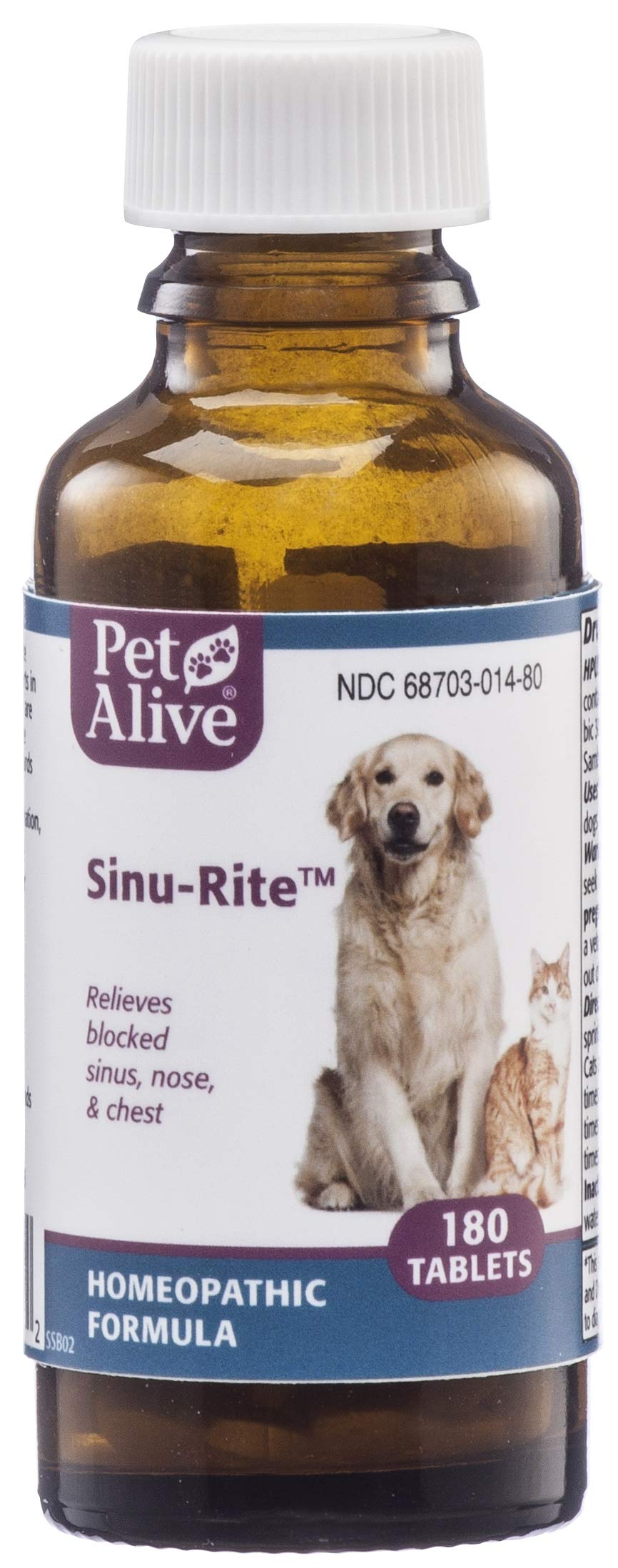 PetAlive Sinu-Rite - Natural Homeopathic Formula for Allergy-Related Congestion and Acute Sinusitis in Dogs and Cats - Relieves Blocked Sinus, Nose and Chest in Pets - 180 Tablets