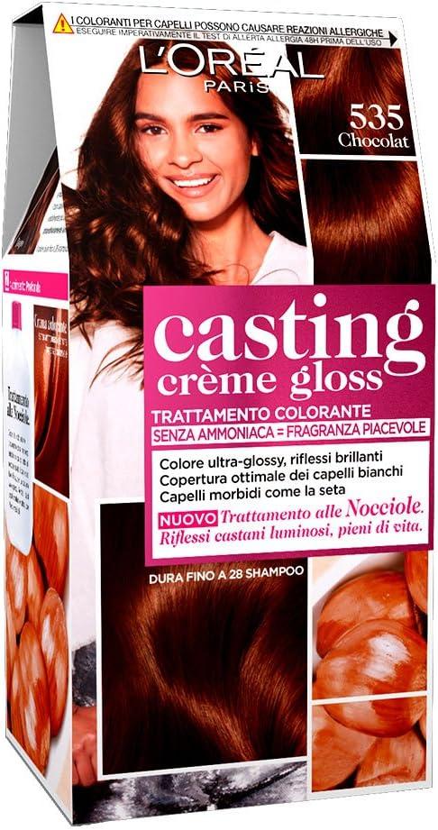 LOréal Paris Casting Creme Gloss, tratamiento colorante para el cabello, sin amoniaco para una fragancia agradable. Chocolat 535