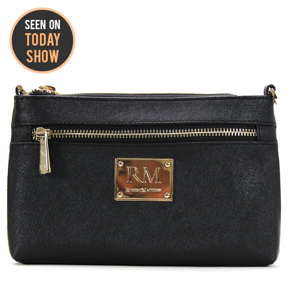 0b9dfe9dcb6 Robert Matthew Deals Fashion Designer Luxury Sofia 24k Gold Black Leather  Clutch Purse Small Shoulder Bag Handbags for Women: Handbags: Amazon.com