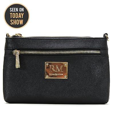efbe760185 Robert Matthew Deals Fashion Designer Luxury Sofia 24k Gold Black Leather  Clutch Purse Small Shoulder Bag
