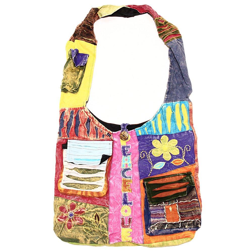 Bohemian Hippie Crossbody Shoulder Bag Sling Cotton Handmade Variety Patterns (2039 - Peace Sign)