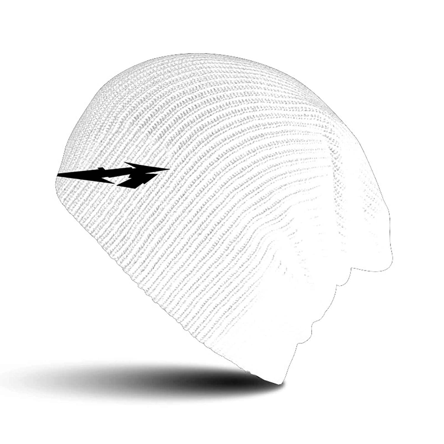 Metallica Beanie Hat Glitch M Circle band logo new Official White slouch