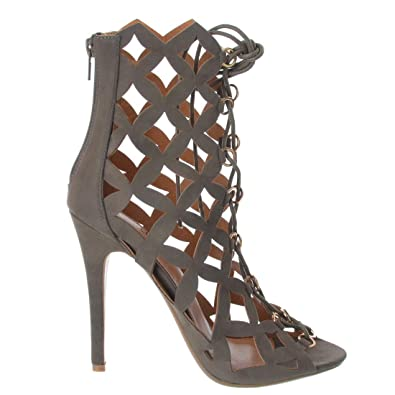 NEW WOMENS LADIES STILETTO HIGH HEEL CAGED CUT OUT OVER KNEE PEEP TOE BOOTS SIZE