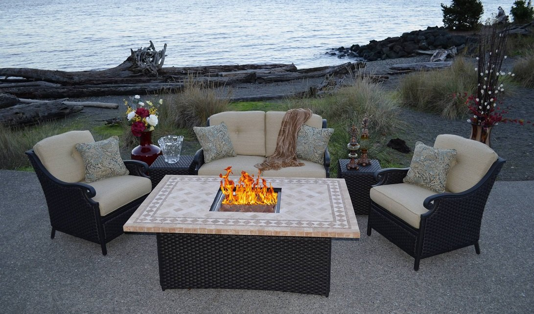 Amazon.com: Fire Pit Set PPC 009 Outdoor Wicker Patio Furniture With Gas Fire  Pit Dining Set, Beige: Garden U0026 Outdoor
