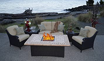 Nice Fire Pit Set PPC 009 Outdoor Wicker Patio Furniture With Gas Fire Pit  Dining Set