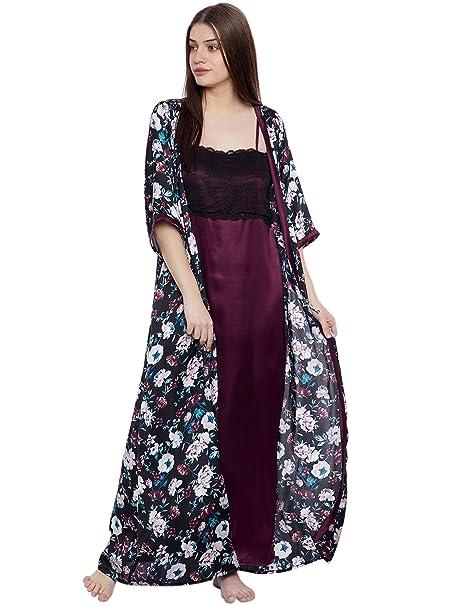 Clovia Women s Satin Spaghetti Nighty   Floral Print Robe  (NS1050P13 Black X-Large) 748ff8654